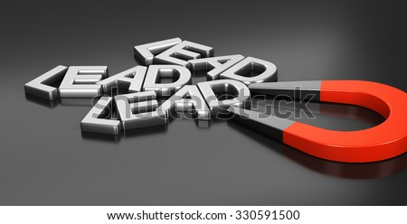 Horseshoe magnet attracting new leads over black background, 3d conceptual image for illustration of lead acquisition strategy and online strategic marketing - stock photo