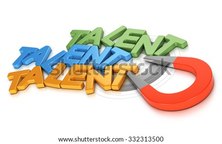 Horseshoe magnet attracting new talents over white background, 3d conceptual image for illustration of talent acquisition strategy or recruitment.