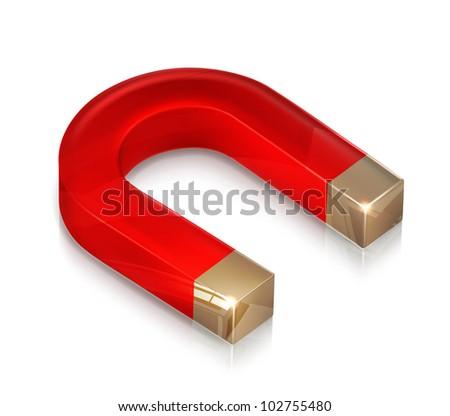 Horseshoe magnet, bitmap copy - stock photo
