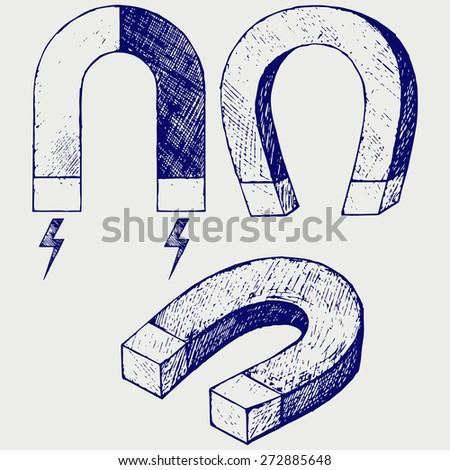 Horseshoe Magnet. Doodle style. Raster version - stock photo