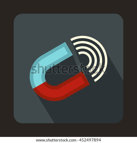 Horseshoe magnet icon in flat style on a gray background - stock photo