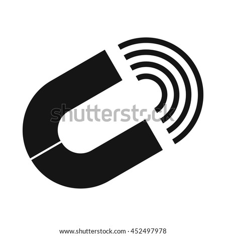 Horseshoe magnet icon in simple style isolated on white background - stock photo
