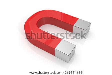 Horseshoe magnet isolated on white background - stock photo