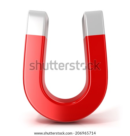 Horseshoe magnet isolated on white background. Front view - stock photo