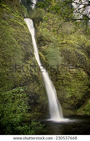 Horsetail Falls, one of the many fall along the Columbia River Gorge, Oregon - stock photo