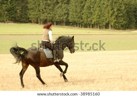Horsewoman is riding on a horse.