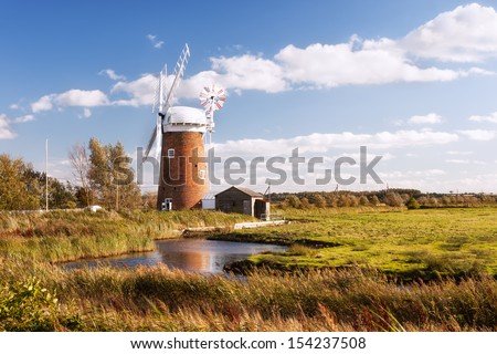 Horsey wind pump, Norfolk in United Kingdom. - stock photo
