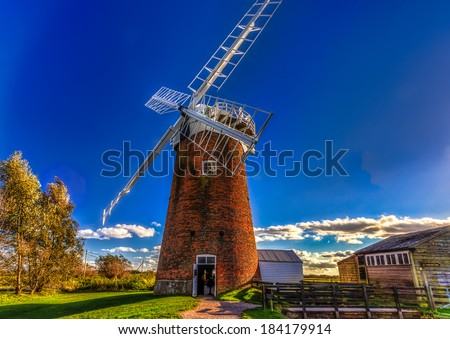 Horsey Wind Pump - one of the finest windmills in Norfolk - stock photo