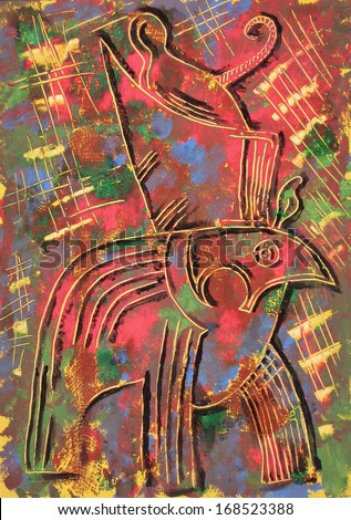 Horus God on colorful background. Painting - stock photo