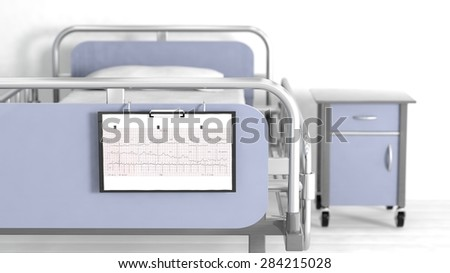 Hospital bed and bedside table with focus on patient sheet cardiogram - stock photo