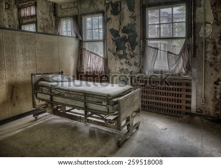 Hospital Bed at Pennhurst Asylum in Pennsylvania - stock photo