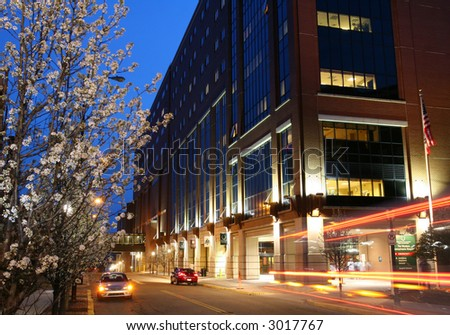 Hospital building at twilight. - stock photo