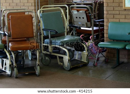 Hospital chairs and child buggy