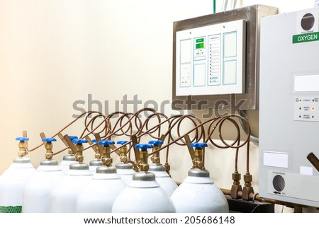 Hospital control room with Medical Oxygen Tank - stock photo
