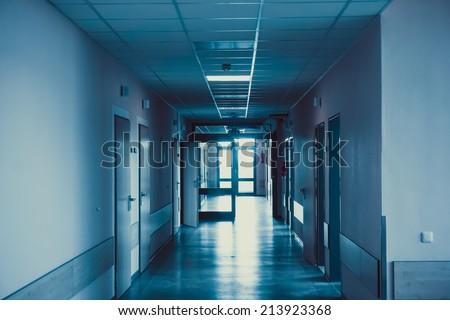 hospital corridor. hospital hallway. hospital interior - stock photo