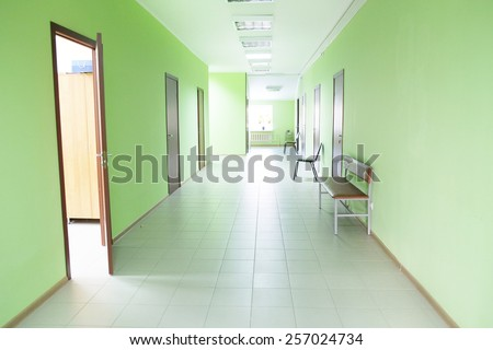 Hospital corridor interior  - stock photo