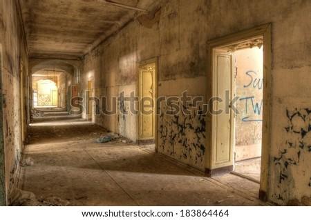 Hospital corridor to the wards in Beelitz - stock photo