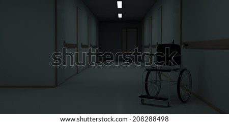 Hospital dark corridor with wheelchair against the wall. 3d render - stock photo