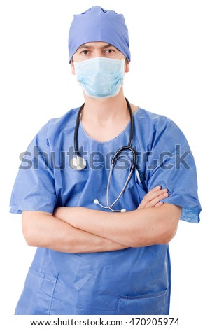 hospital doctor isolated over white background