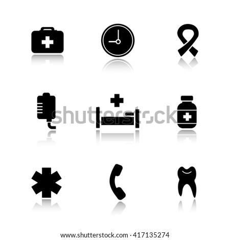 Hospital  drop shadow icons set. Medical healthcare center. First aid medicine chest and drop counter. Ambulance star of life, pills bottle and aids ribbon signs. Logo concepts. Raster illustrations - stock photo