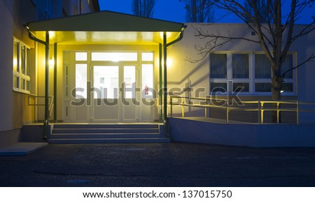 hospital entrance night - stock photo
