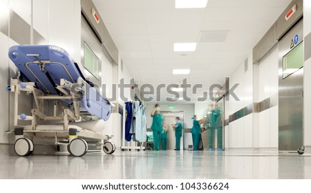 Hospital hallway, emergency room - stock photo
