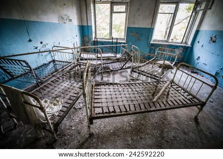 Hospital in Chernobyl-2 military complex (next to Duga-3 radar system), Chernobyl Nuclear Power Plant Zone of Alienation, Ukraine - stock photo