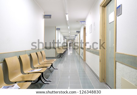 hospital indoor hallway and waiting seats