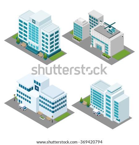 Hospital Isometric Icons Set - stock photo