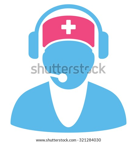 Hospital Receptionist raster icon. Style is bicolor flat symbol, pink and blue colors, rounded angles, white background.