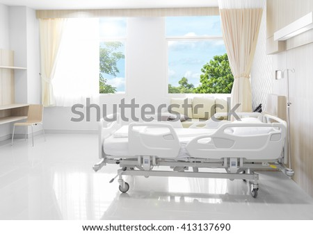 Hospital room with beds and comfortable medical equipped in a modern hospital - stock photo
