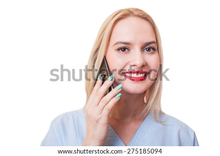 Hospital support assistance woman concept using smartphone on white background - stock photo