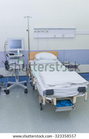 Hospital ward with medical equipment for patient monitoring