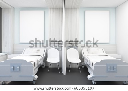 Hospital ward with white walls, two beds, two posters and two chairs. Concept of medicine and illness treatment. 3d rendering. Mock up