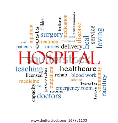 Hospital Word Cloud Concept with great terms such as doctors, nurses, heal, medicine and more.