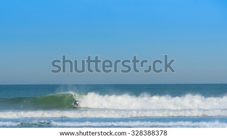 Hossegor, France - 10 October, 2015: Quiksilver Pro France is an event on the WSL Championship Tour. The event is held at Hossegor in France at the end of September and in the beginning of October. - stock photo