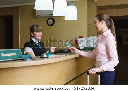 Hostess and guest communicate with each other