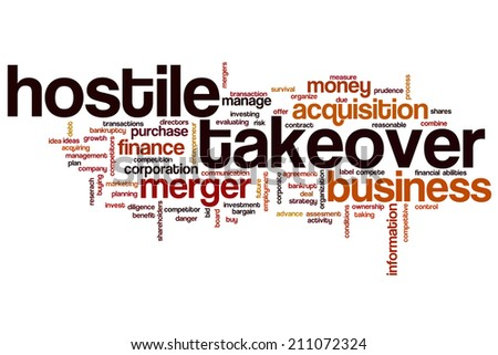 Hostile takeover concept word cloud background - stock photo