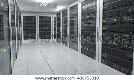 Hosting services. Servers in datacenter. 3D rendered illustration.