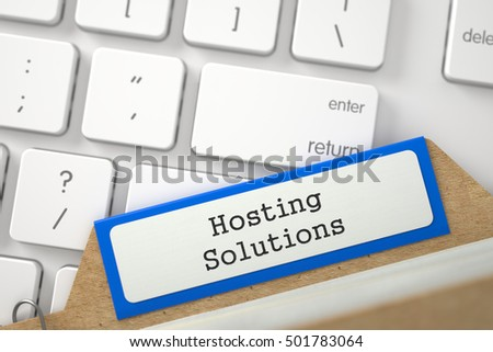 Hosting Solutions. Blue Folder Register on Background of Computer Keyboard. Archive Concept. Closeup View. Blurred Illustration. 3D Rendering.