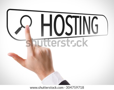 Hosting written in search bar on virtual screen - stock photo
