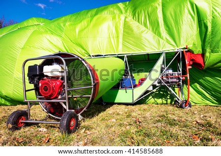 hot air airship at the startup - stock photo