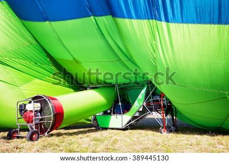 hot air airship - blimp at the startup - stock photo
