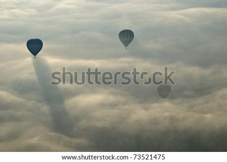 Hot Air Ballons flying on the sky of Cappadocia.Turkey. - stock photo