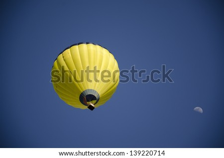 hot air balloon and moon