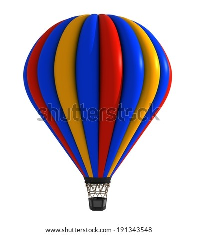 Hot air balloon colorful white isolated