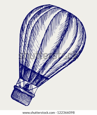 Hot air balloon. Doodle style. Raster version - stock photo