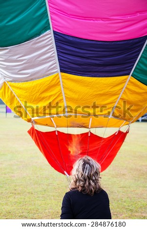 hot-air balloon during a festival event - stock photo