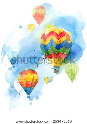 Hot Air Balloon Festival Colorful Watercolor Background Illustration Hand Painted - stock photo