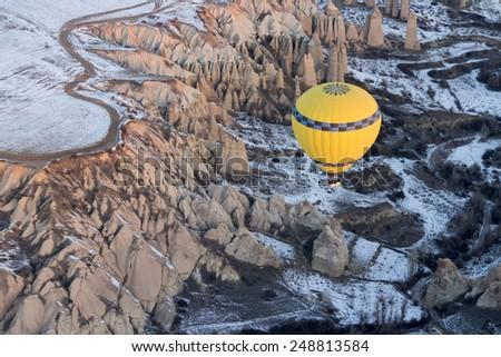 Hot air balloon fly over Cappadocia. - stock photo